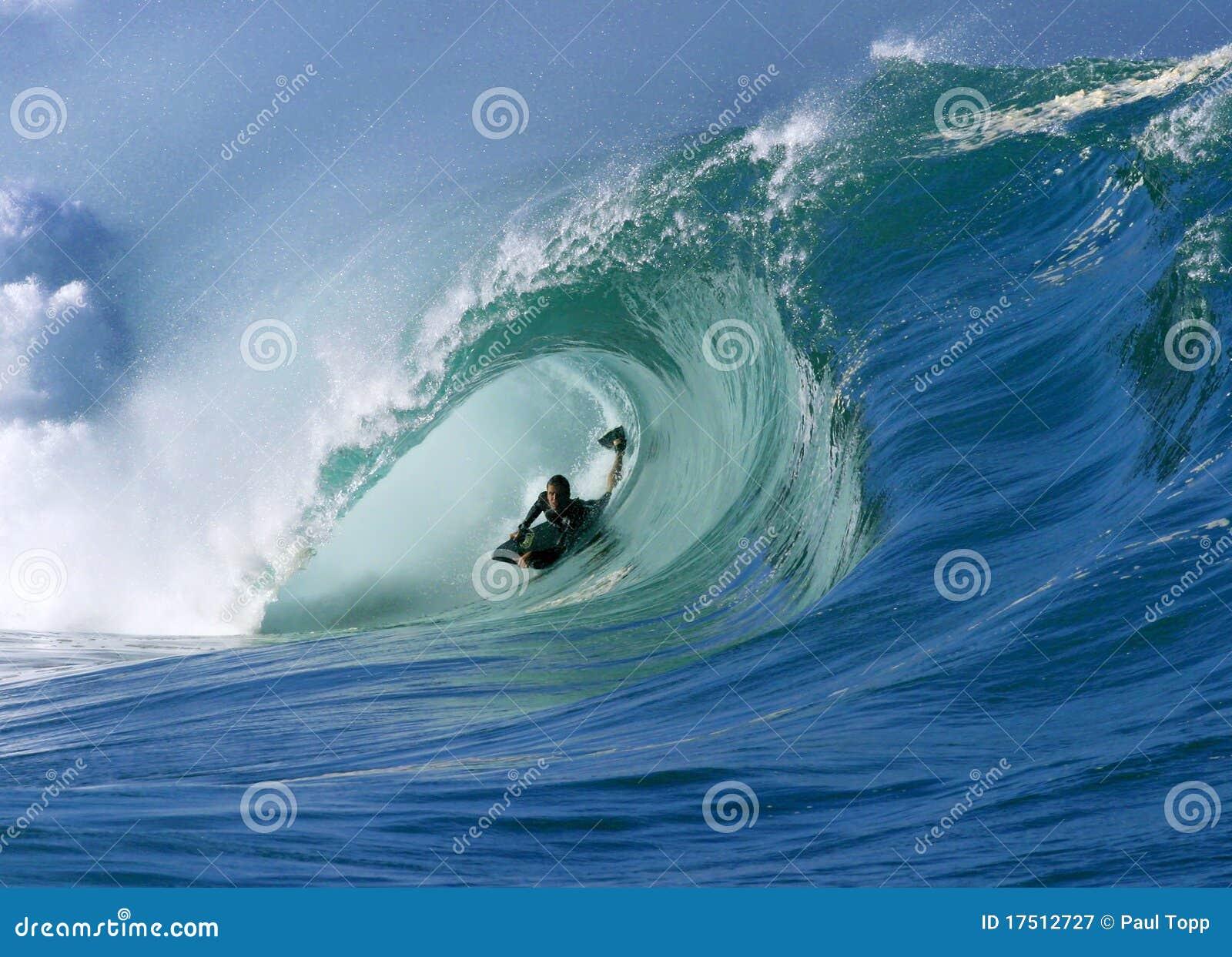 Surfando uma onda perfeita da câmara de ar no louro Havaí de Waimea