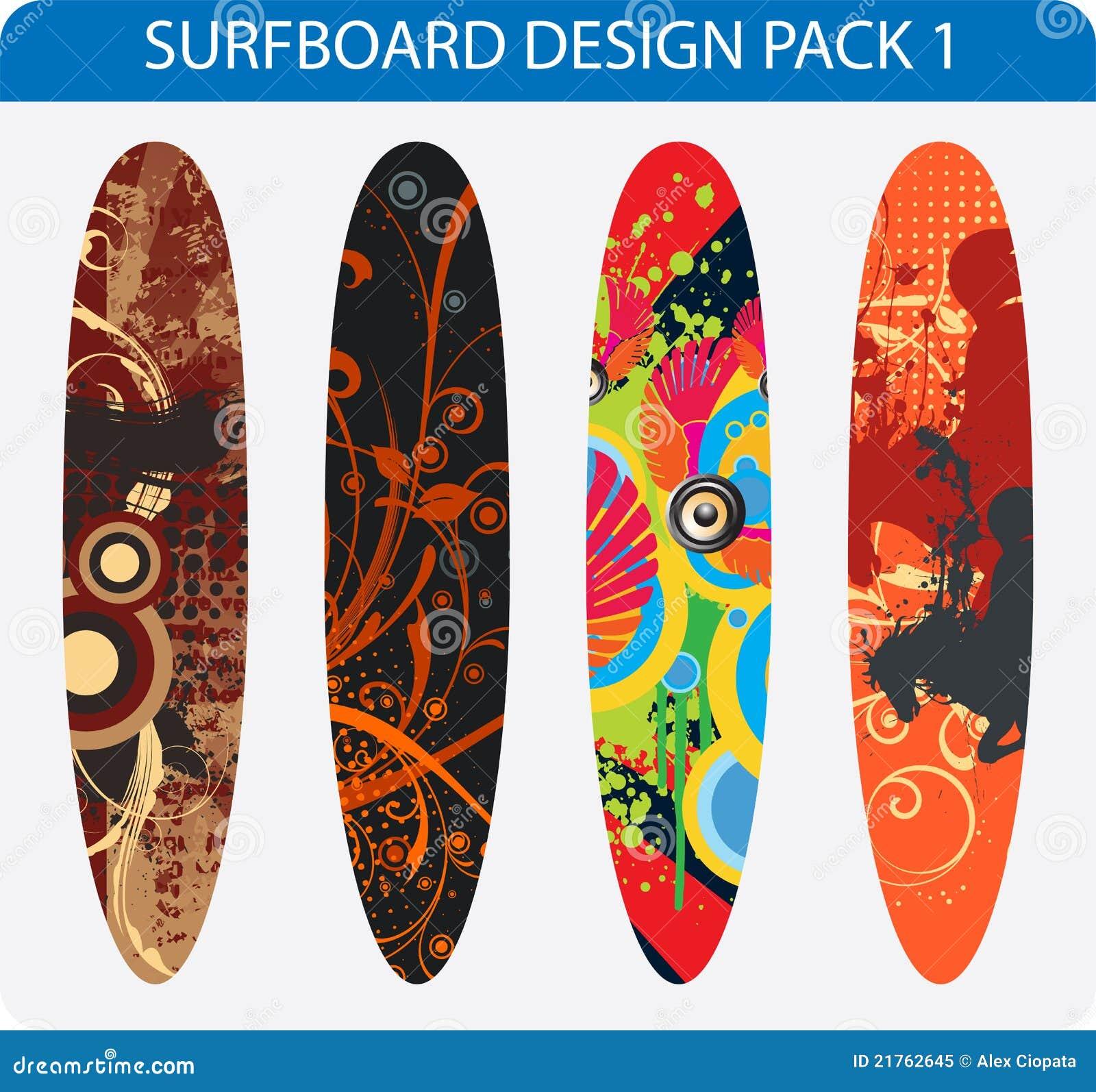 Surfboard Design Pack Stock Vector Illustration Of Illustration