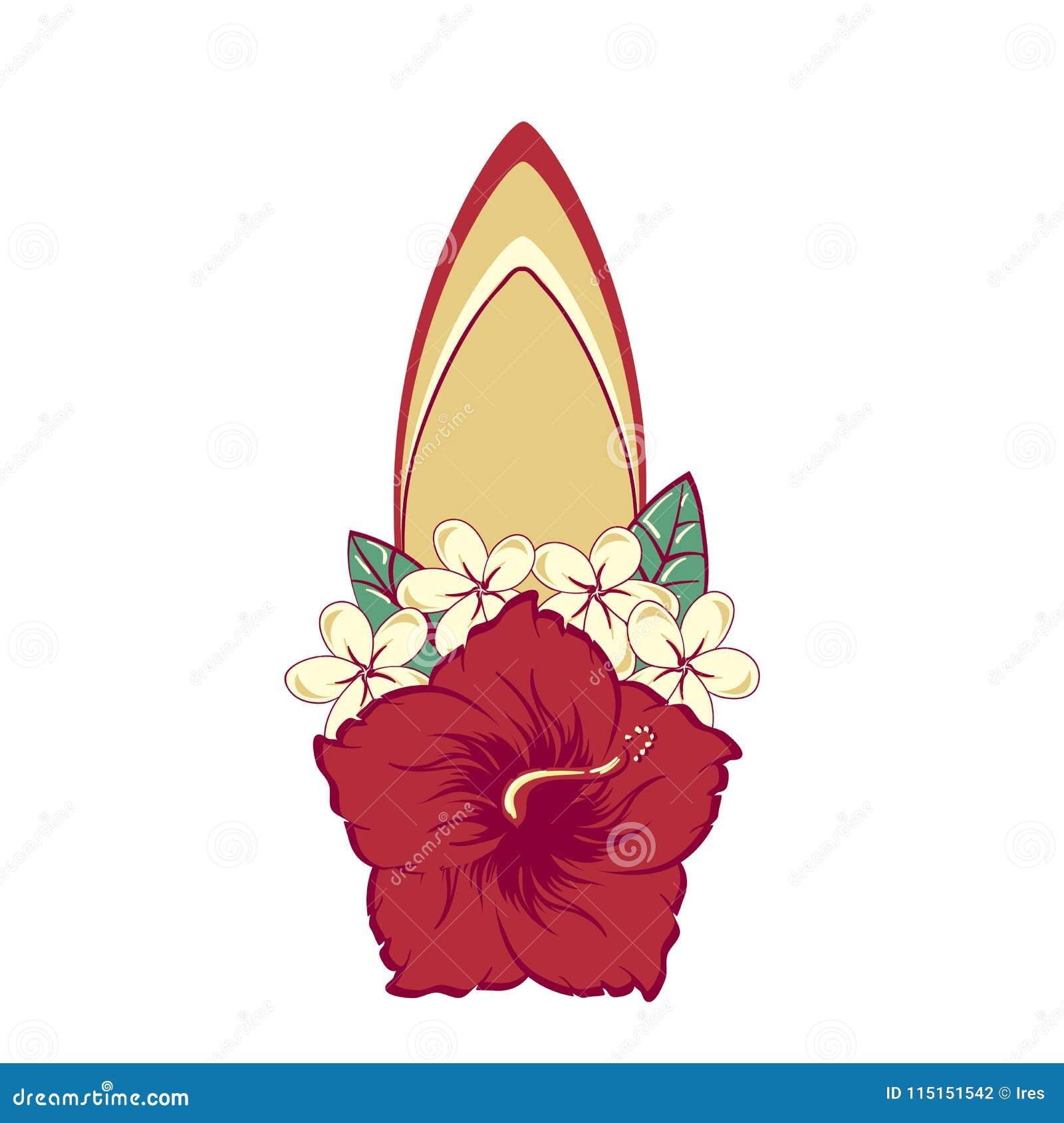 Surfboard In Hawaiian Flowers Bouquet Hibiscus And Plumeria Stock