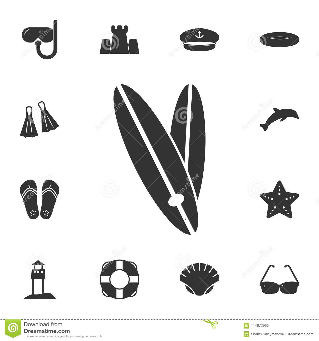 Surfboard Icon  Detailed Set Of Summer Illustrations