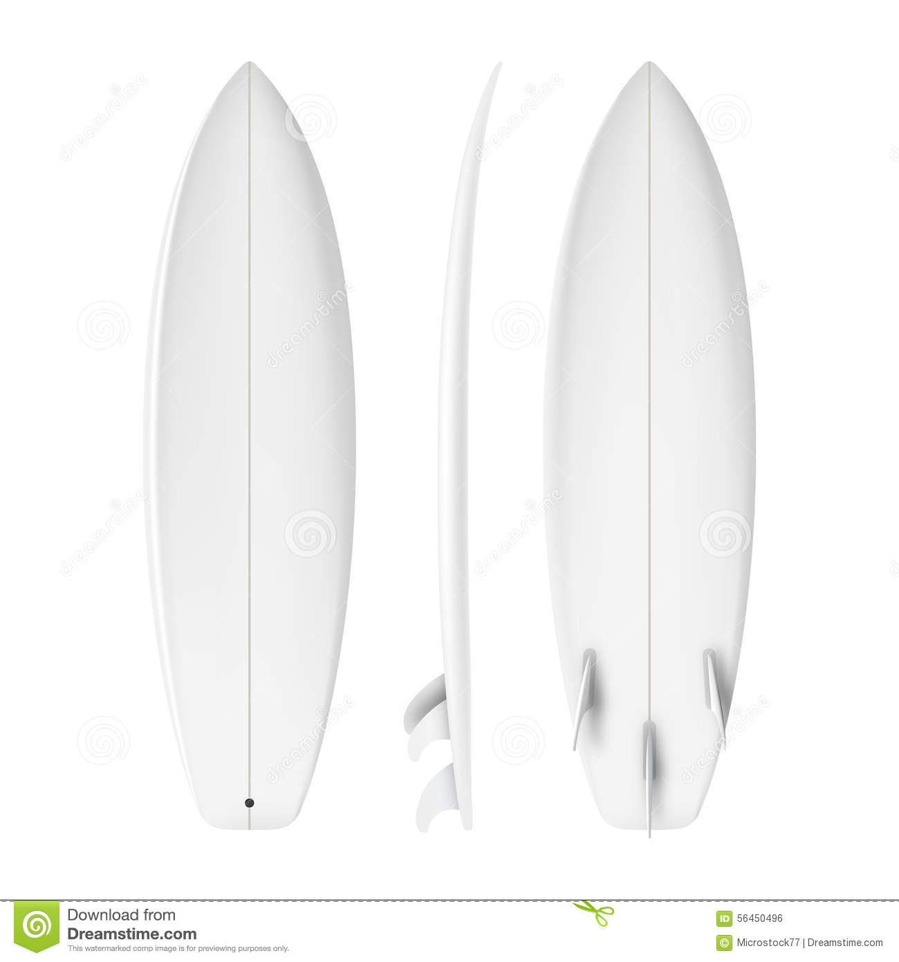 Surfboard front back side view isolated on white background in format.