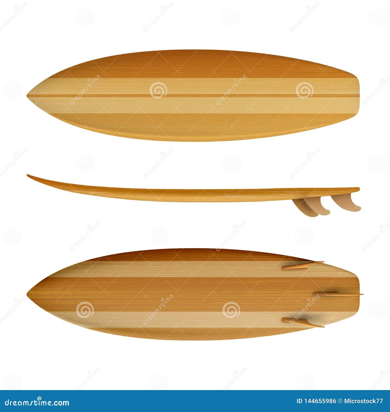 Surfboard wood isolated realistic Vector