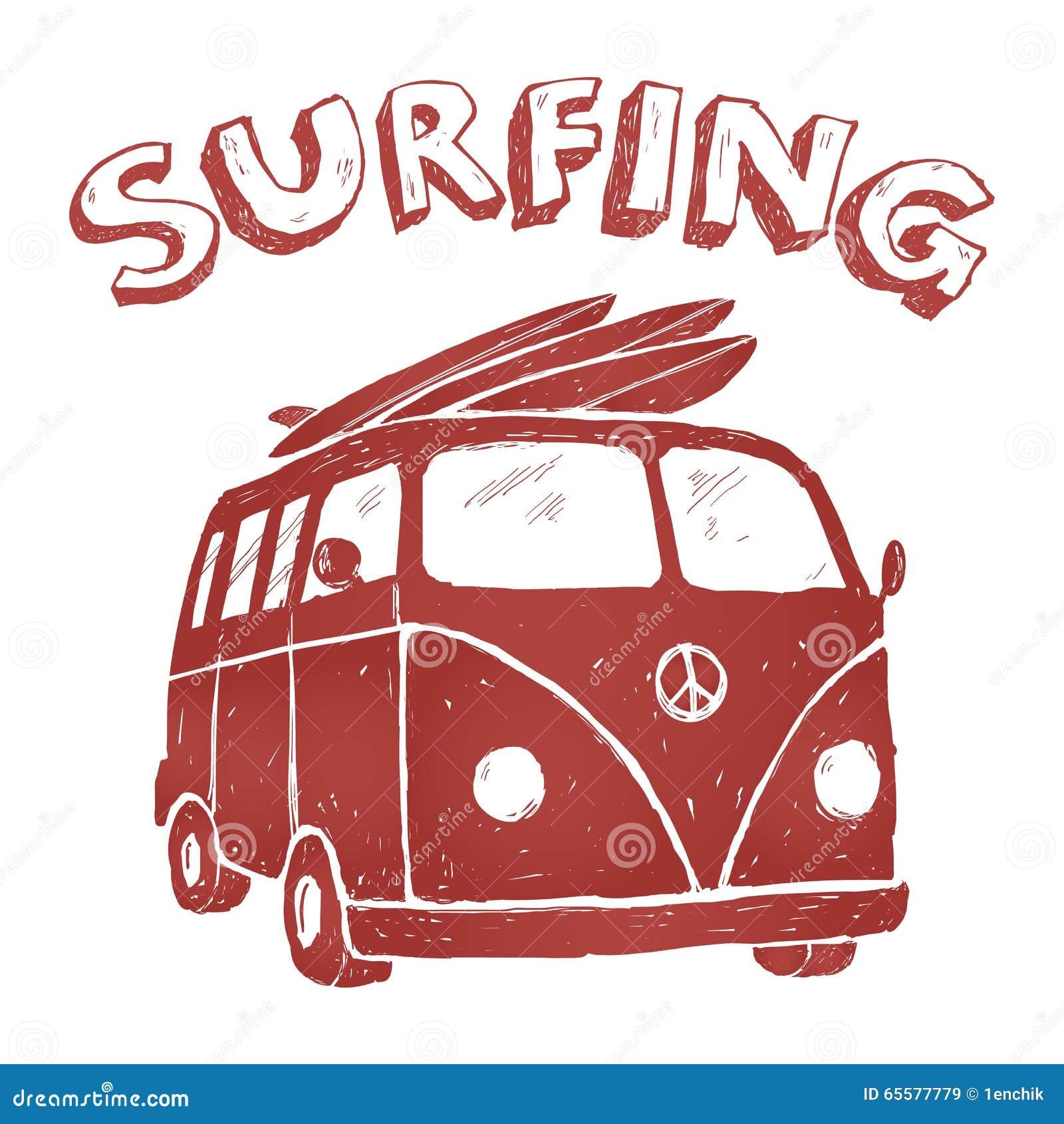 Surfe Van Illustration, gráficos do t-shirt, vetores, tipografia