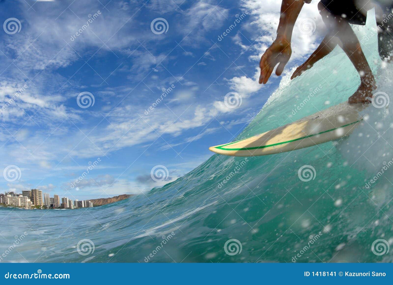 Surfen hinunter die Zeile