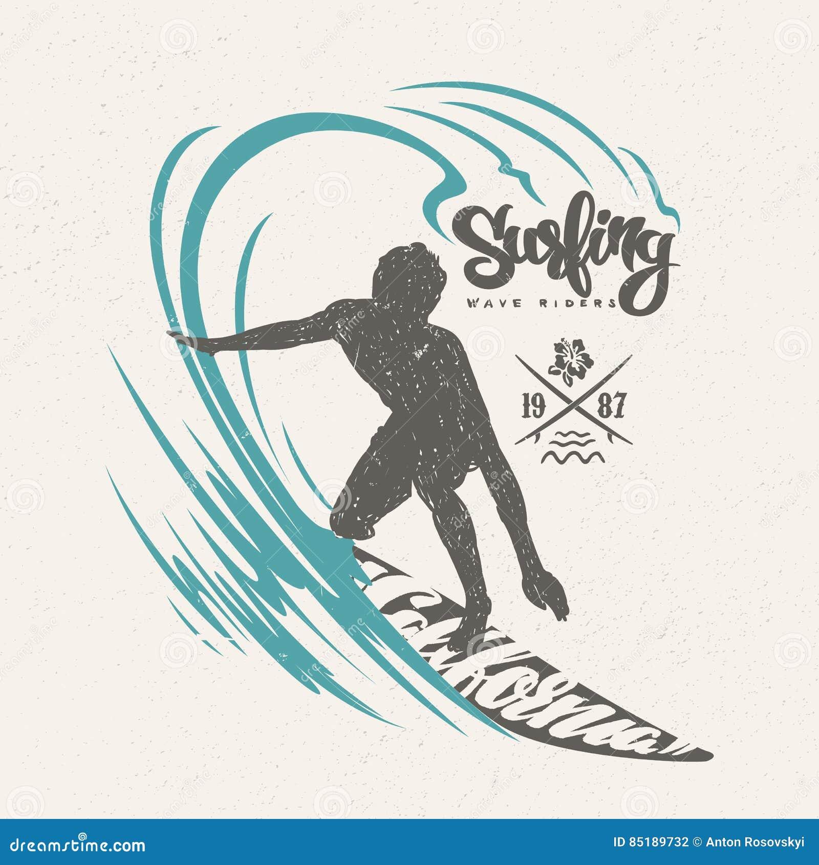 Surfer And Big Wave T Shirt Design Stock Vector Illustration Of Splash Background 85189732