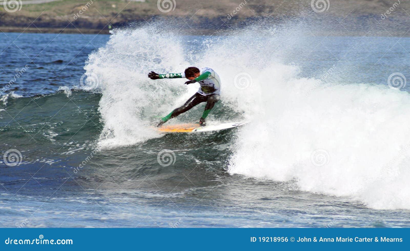 Surfer dancing on a wave