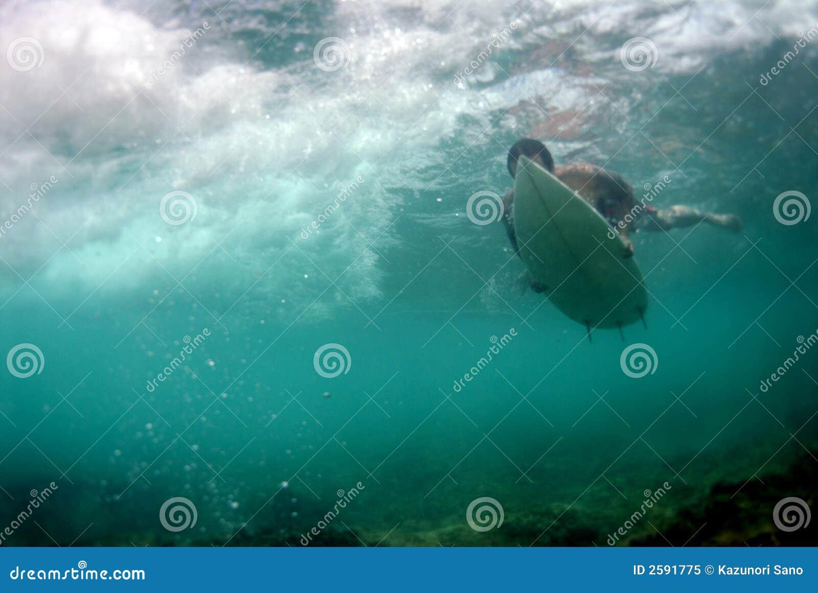 Surfer Duckdiving