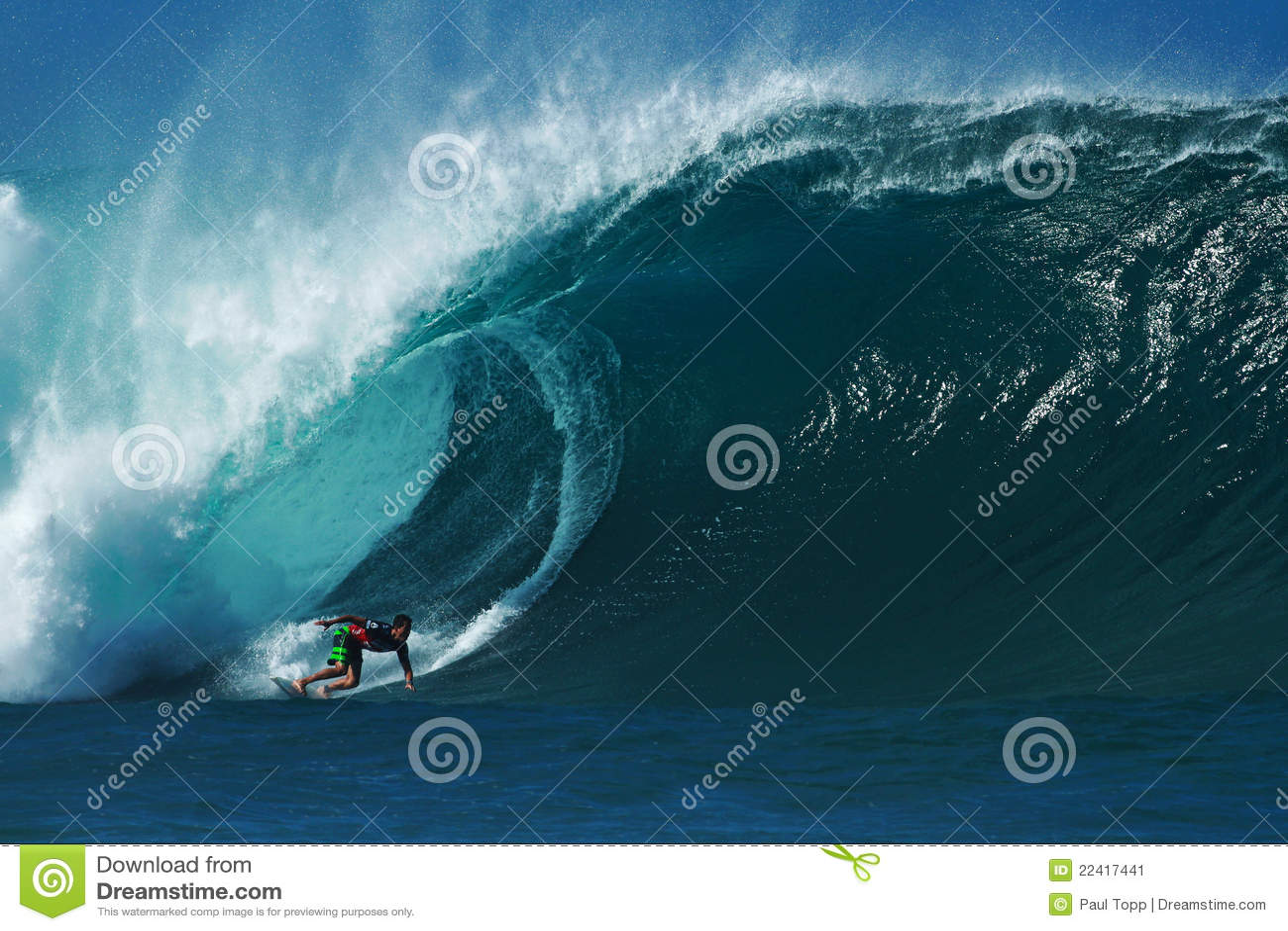Surfer Evan Valiere Surfing Pipeline in Hawaii