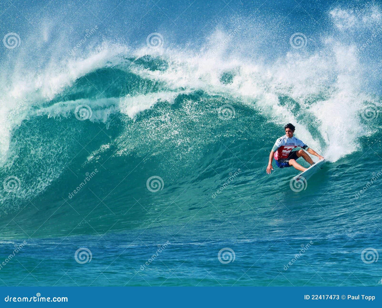surfer gabriel medina surfing pipeline in hawaii editorial