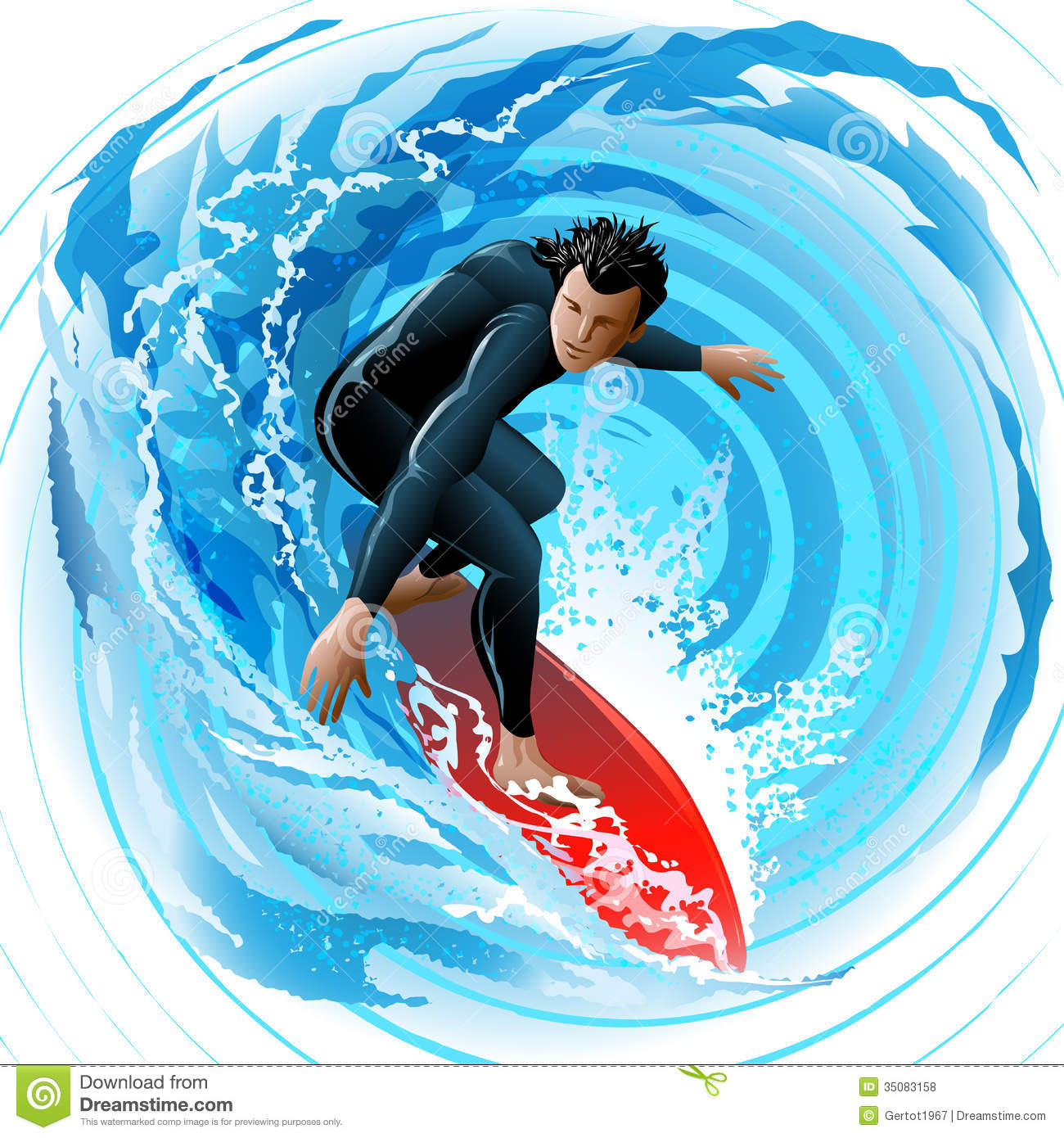... young man sliding on a surf board on water surface against huge waves