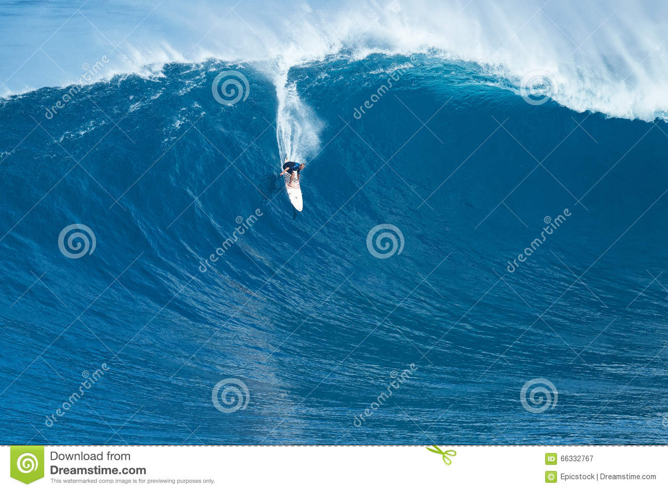 Surfer Rides Giant Wave At Jaws Editorial Photography