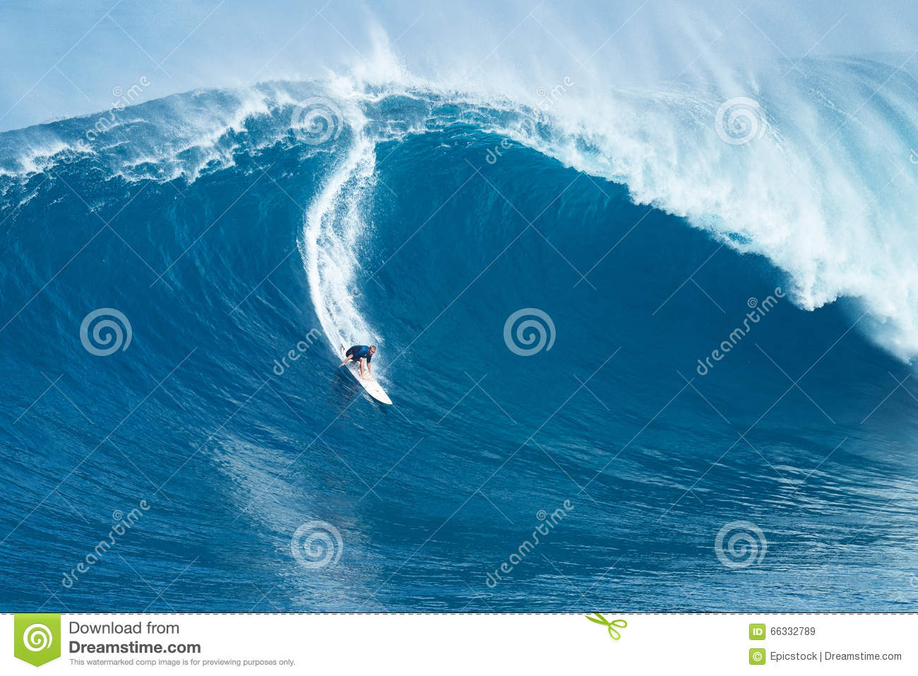 Surfer Rides Giant Wave At Jaws Editorial Stock Image