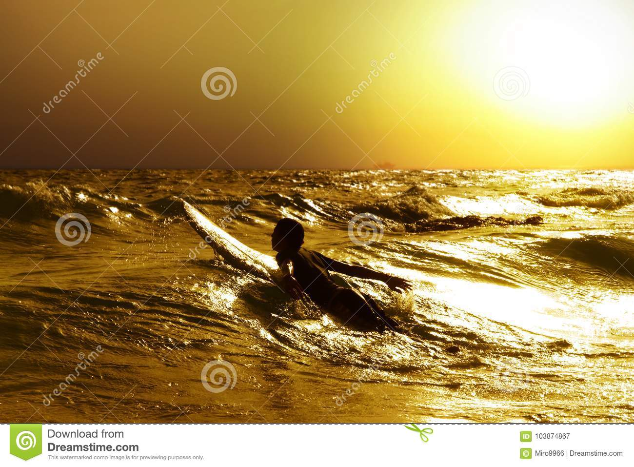Download Surfer at sea stock image. Image of travel, recreation - 103874867