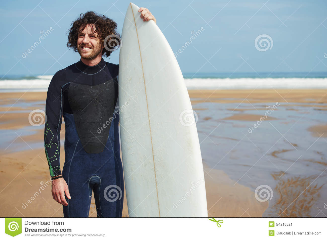Smiling surfer man with long hair holding surf board with copy space for  advertising b0c8e2081
