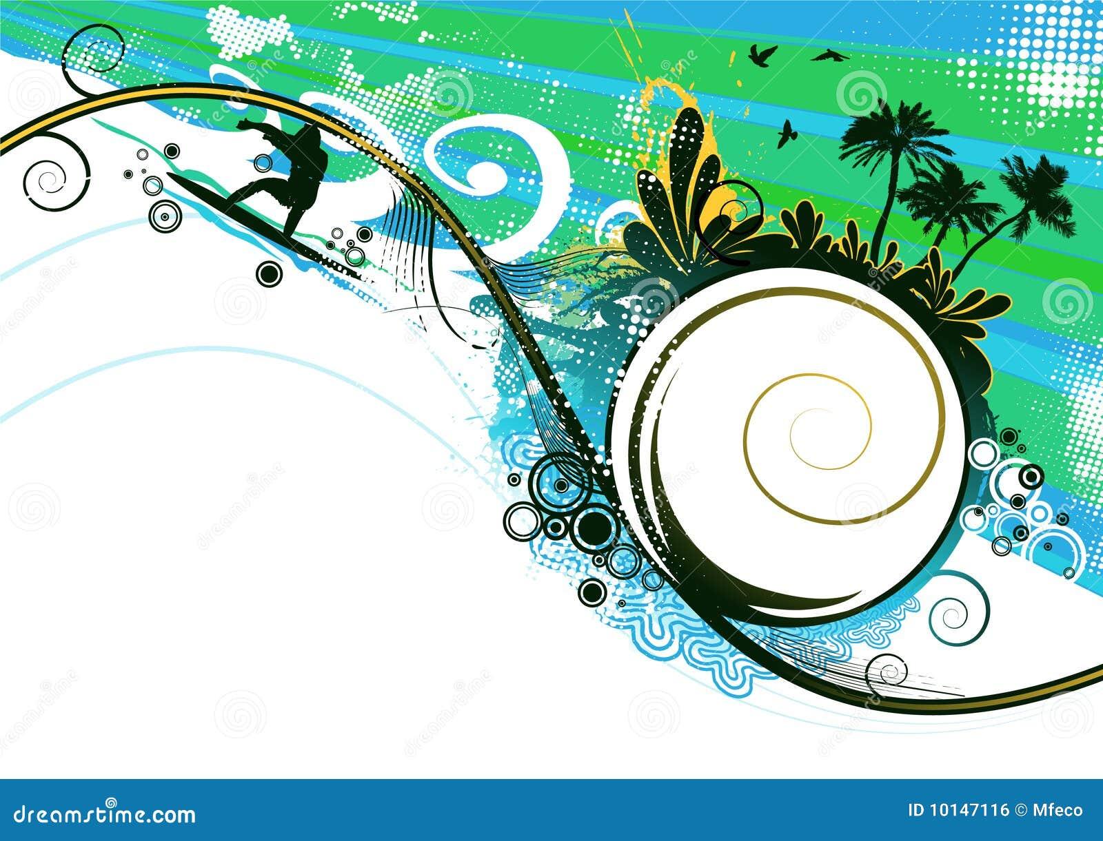 Surfer in summer vector background