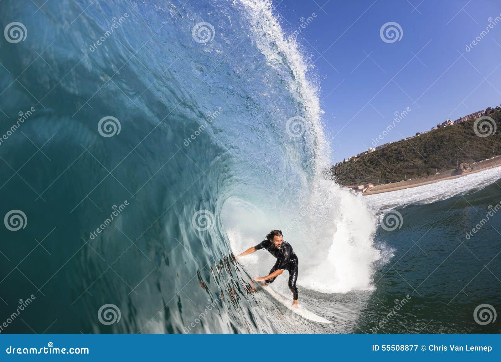 Surfer Surfing Inside Wave