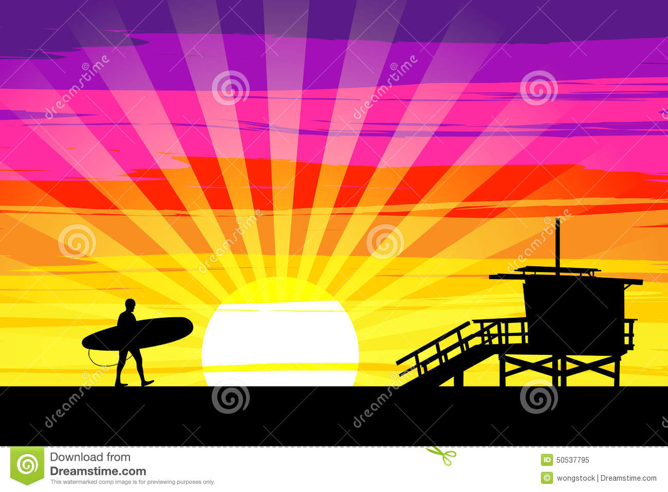 Download Surfer Walking Into The Sunset On Venice Beach, Los Angeles, Cal Stock Vector - Illustration of bright, pink: 50537795