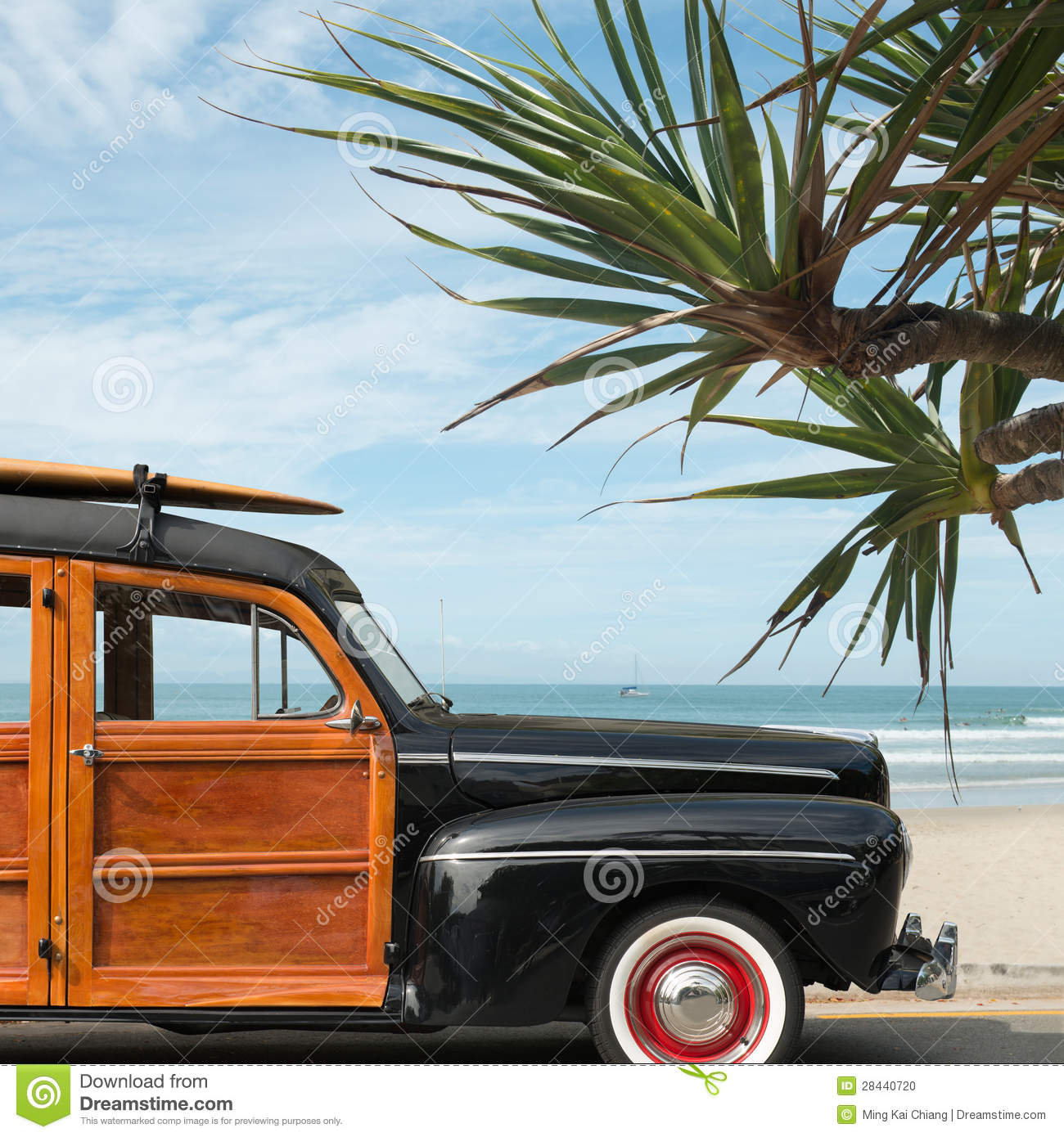 Woody Wagon Stock Photos Royalty Free Pictures 1941 Plymouth Station Surfer On Beach Photo
