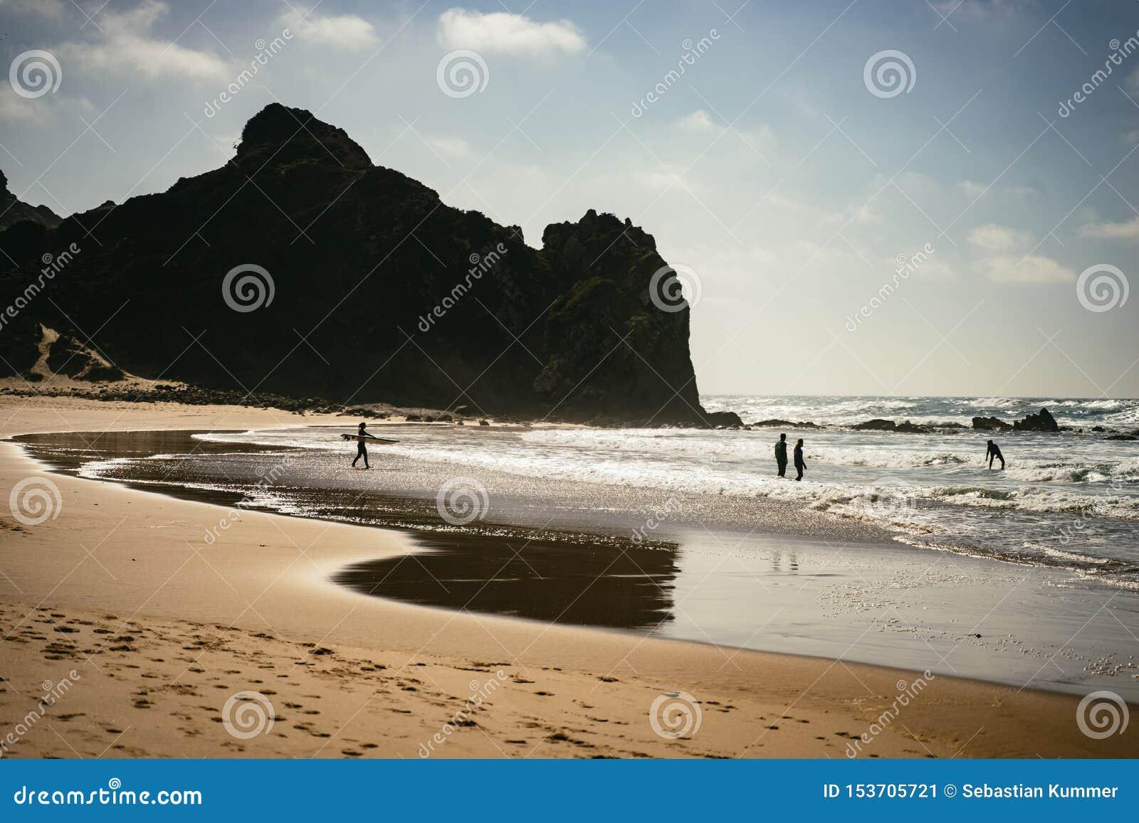 Surfers και κολυμβητές στην παραλία