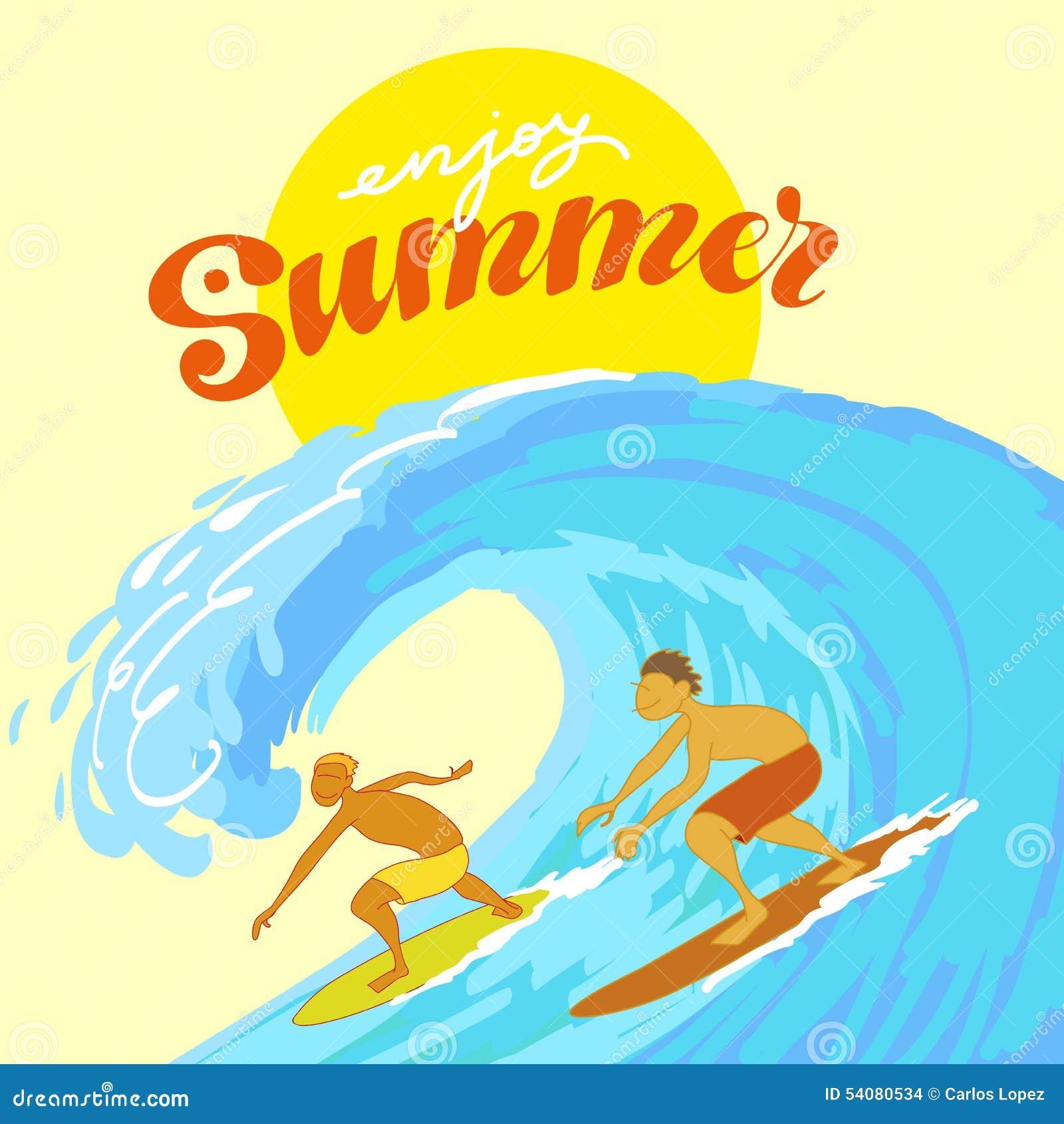 Surfers in de Oceaan tijdens de Zomer