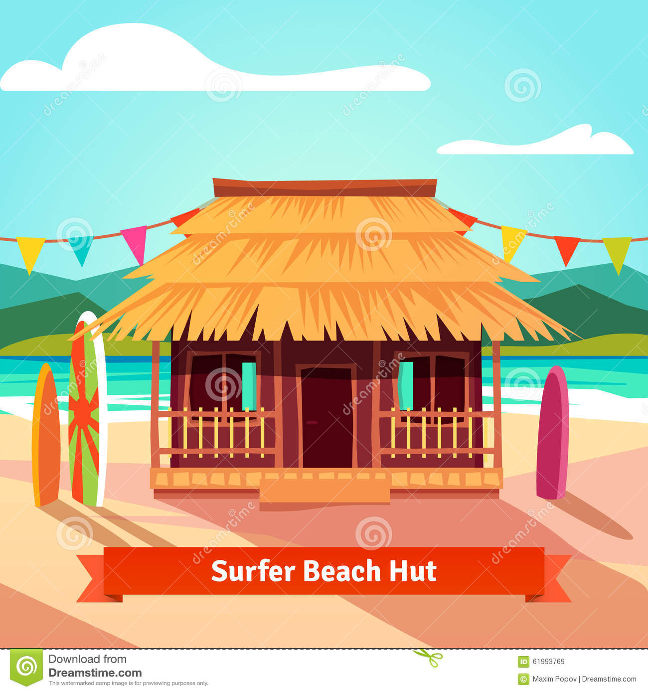 Surfers lagoon beach hut with standing surfboards stock for Beach hut style