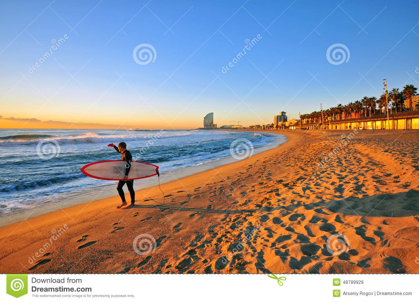 Surfing in Barcelona