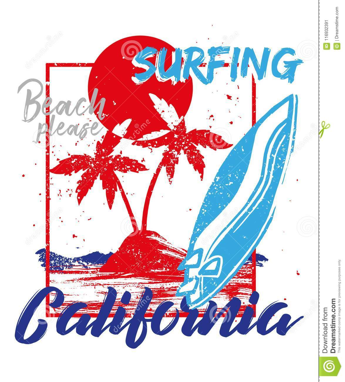 c4410b39 Red fashion vintage summer graphic print for clothes t shirt with California  beach, ocean, hot sun, tropical island, palm, surfing board.