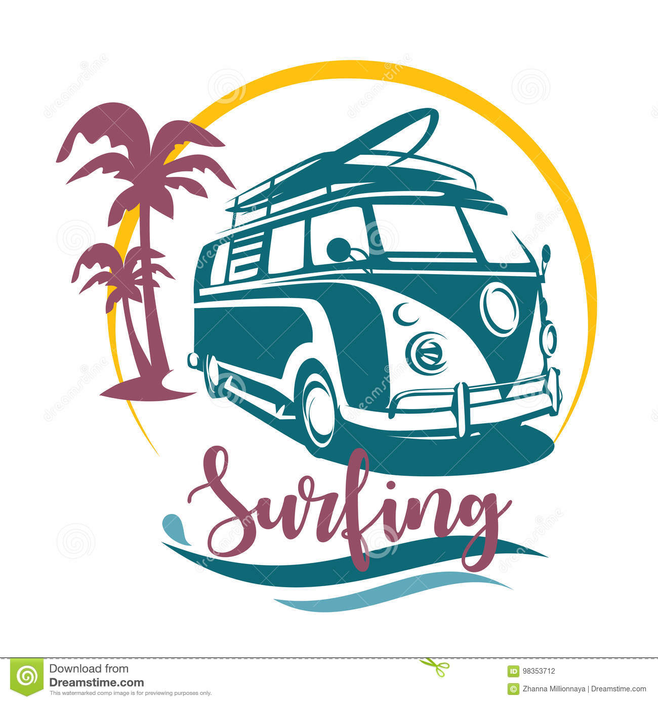 surfing camper stylized symbol stock vector illustration of