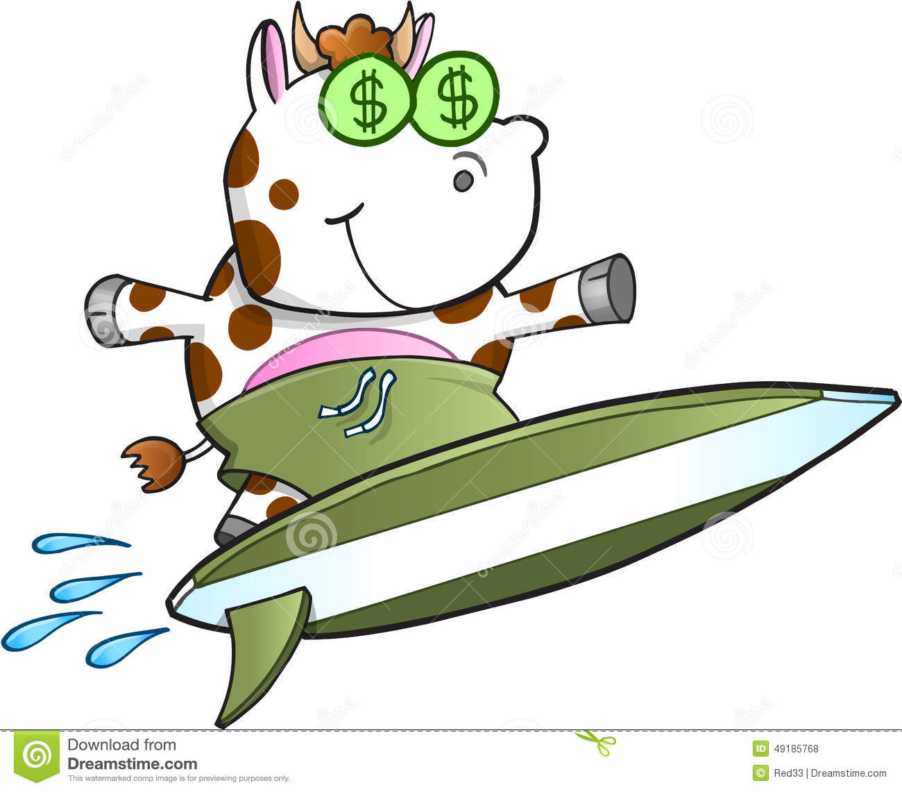 Surfing Cash Cow Vector