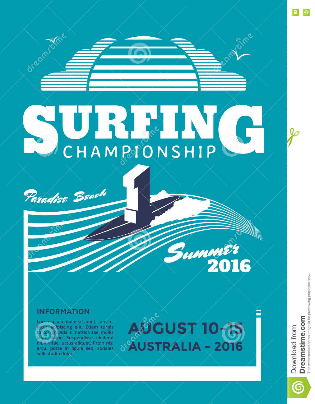 surfing championship poster stock vector
