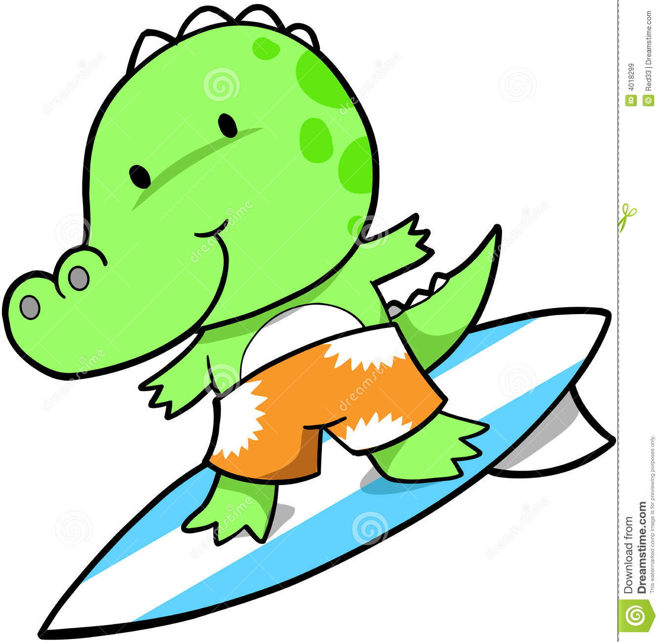 Cute Crocodile Cute surfing crocodile vector