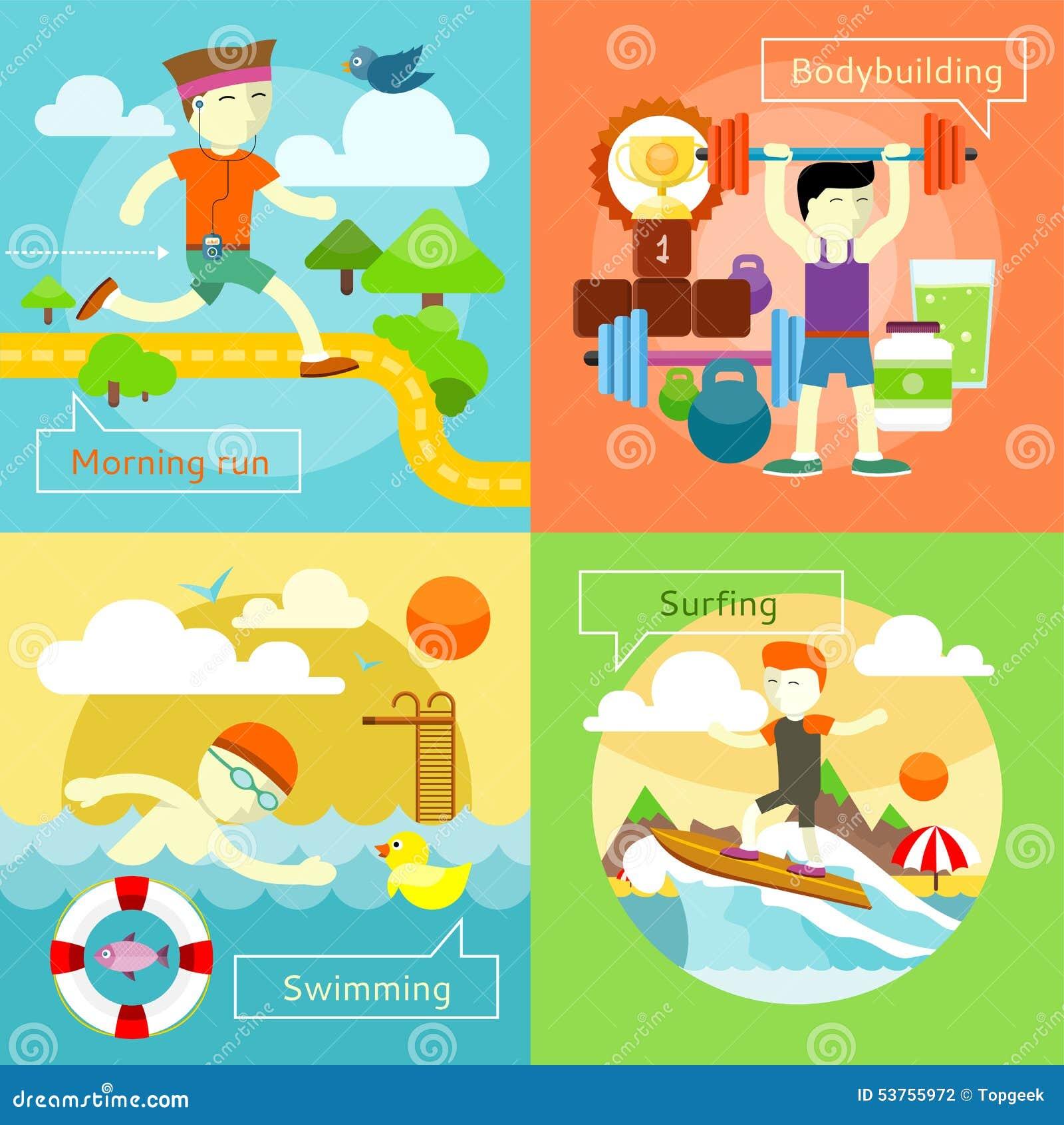 Surfing, dopłynięcie, ranku bieg i Bodybuilding,