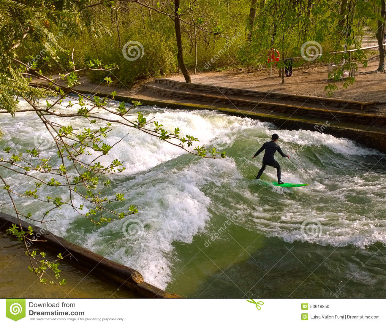 Surfing at Englischer Garden in Munich