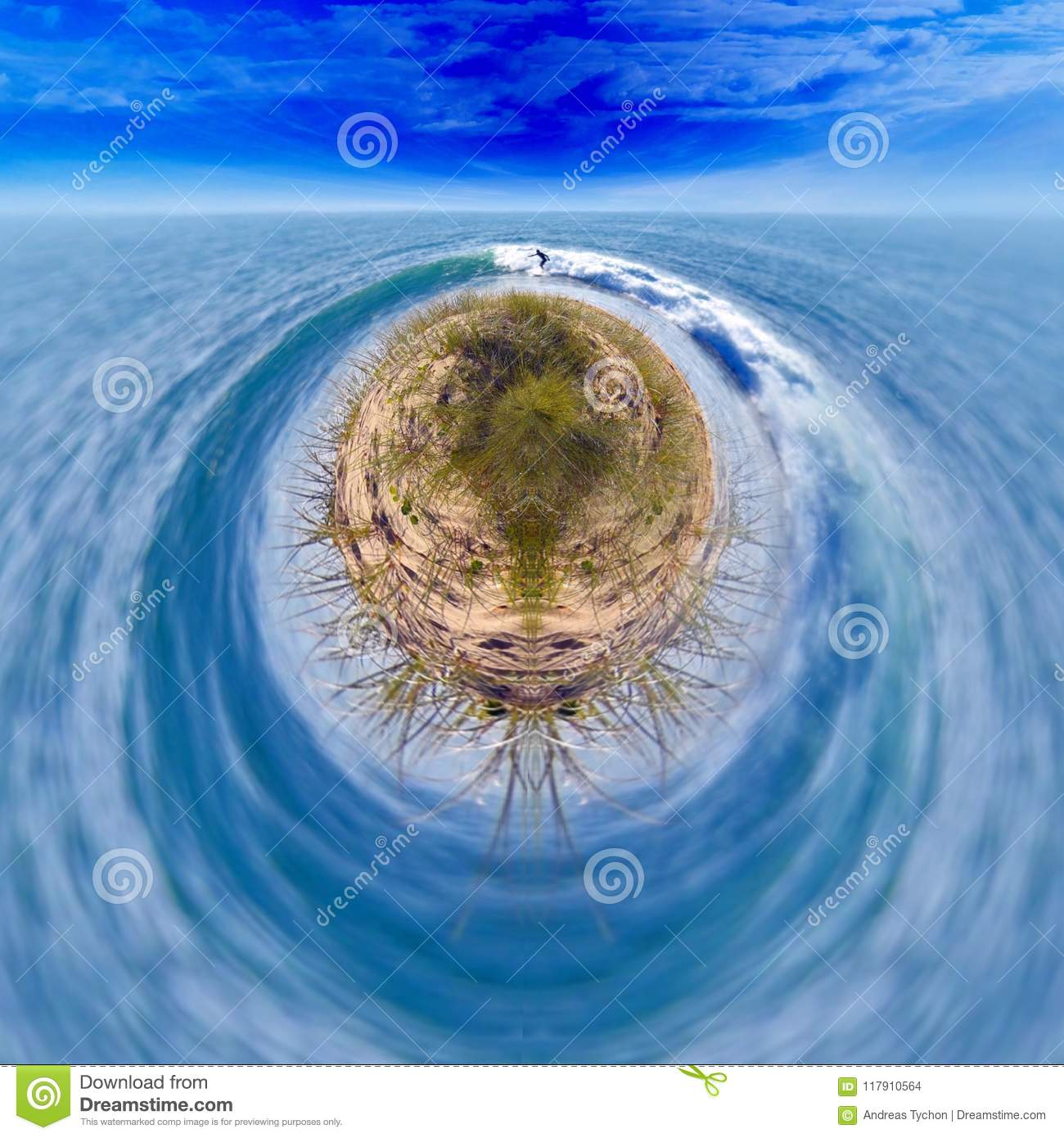 Surfer Ocean Fantasy Background Stock Photo Image Of