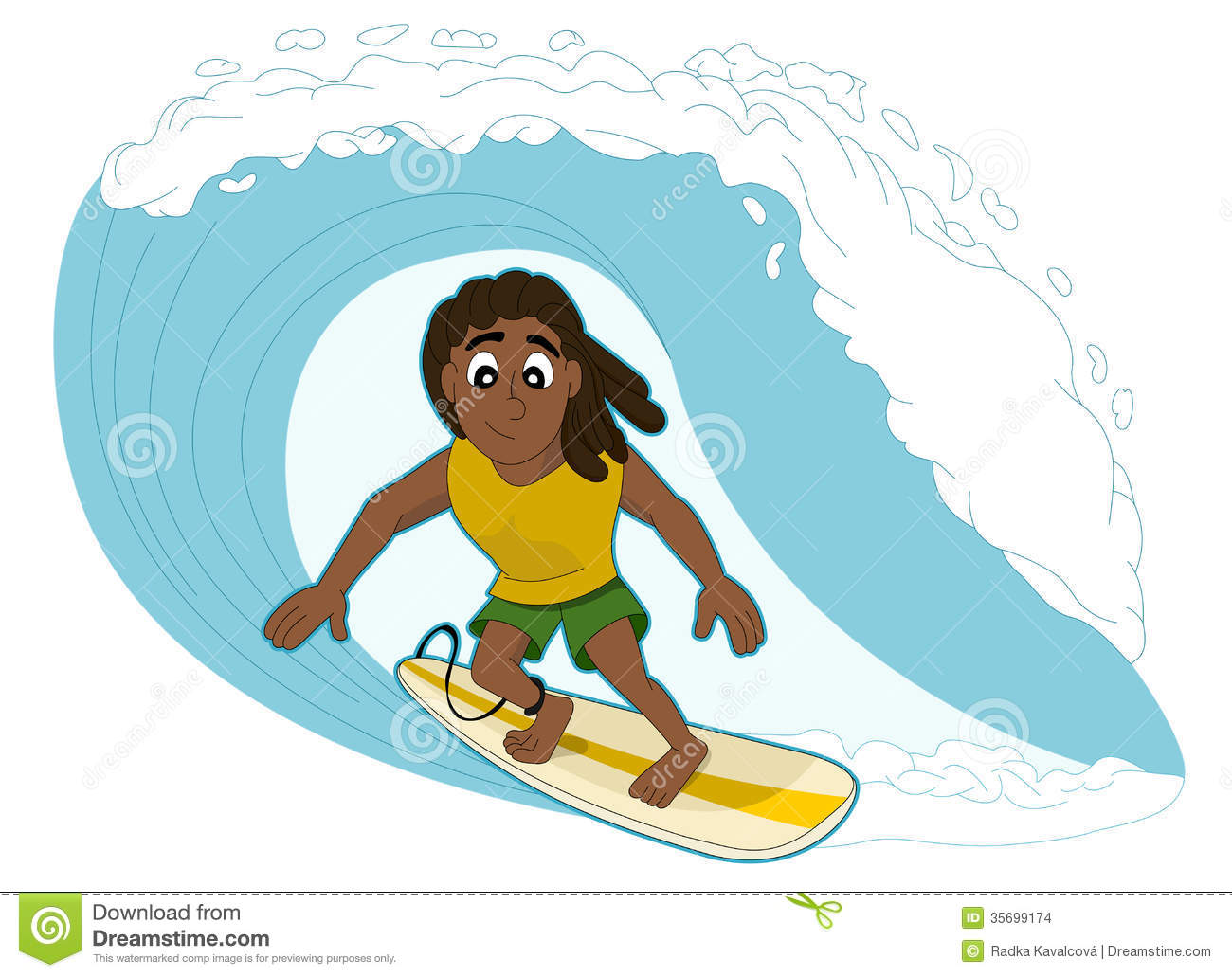 Illustration of rasta surfer surfing a big wave, isolated on a white ...