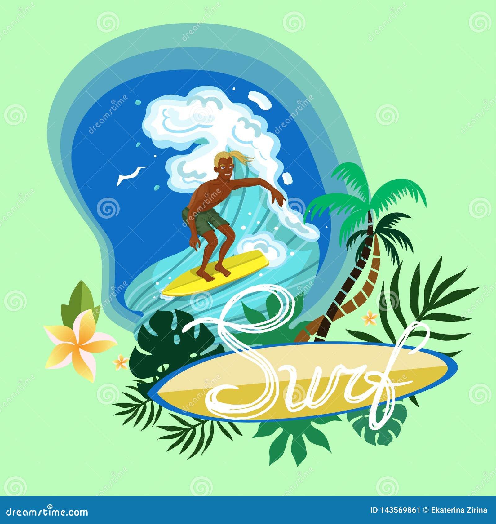 Surfing man conquering a wave logo vector image