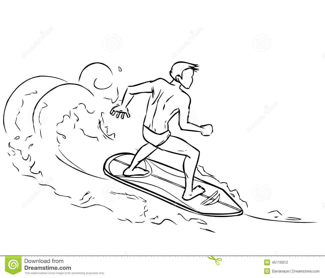 Drawing Lines Surf Movie : Surfing man on surfboard sea waves stock vector image