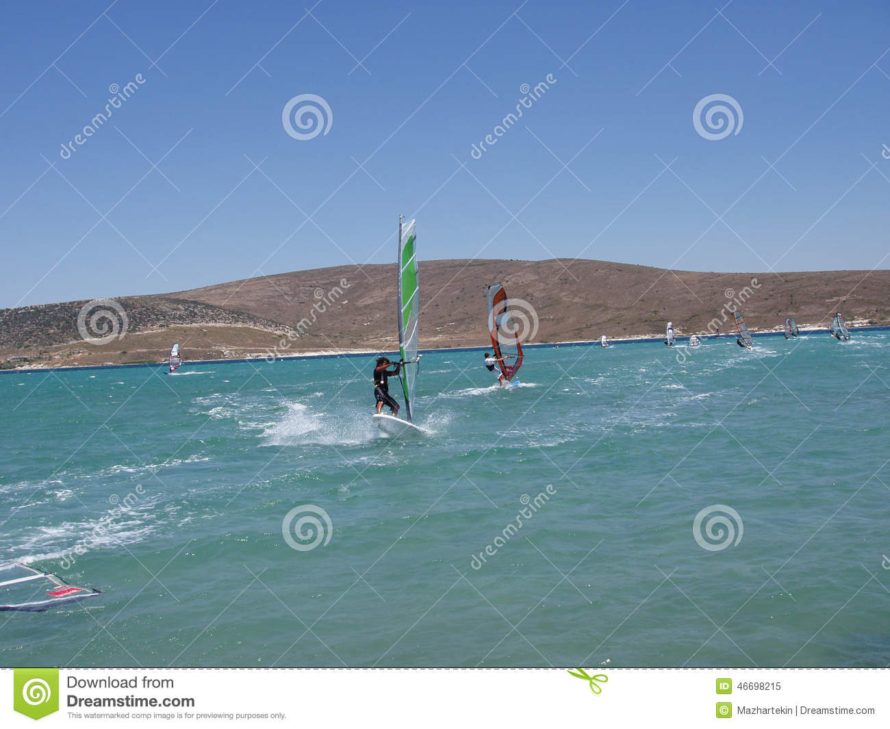 Surfing On The Mediterranean Coast Stock Image Image Of