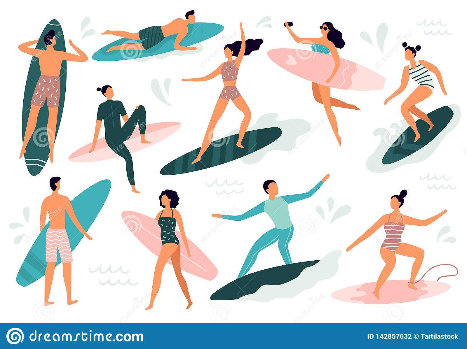 Surfing people. Surfer standing on surf board, surfers on beach and summer wave riders surfboards vector illustration
