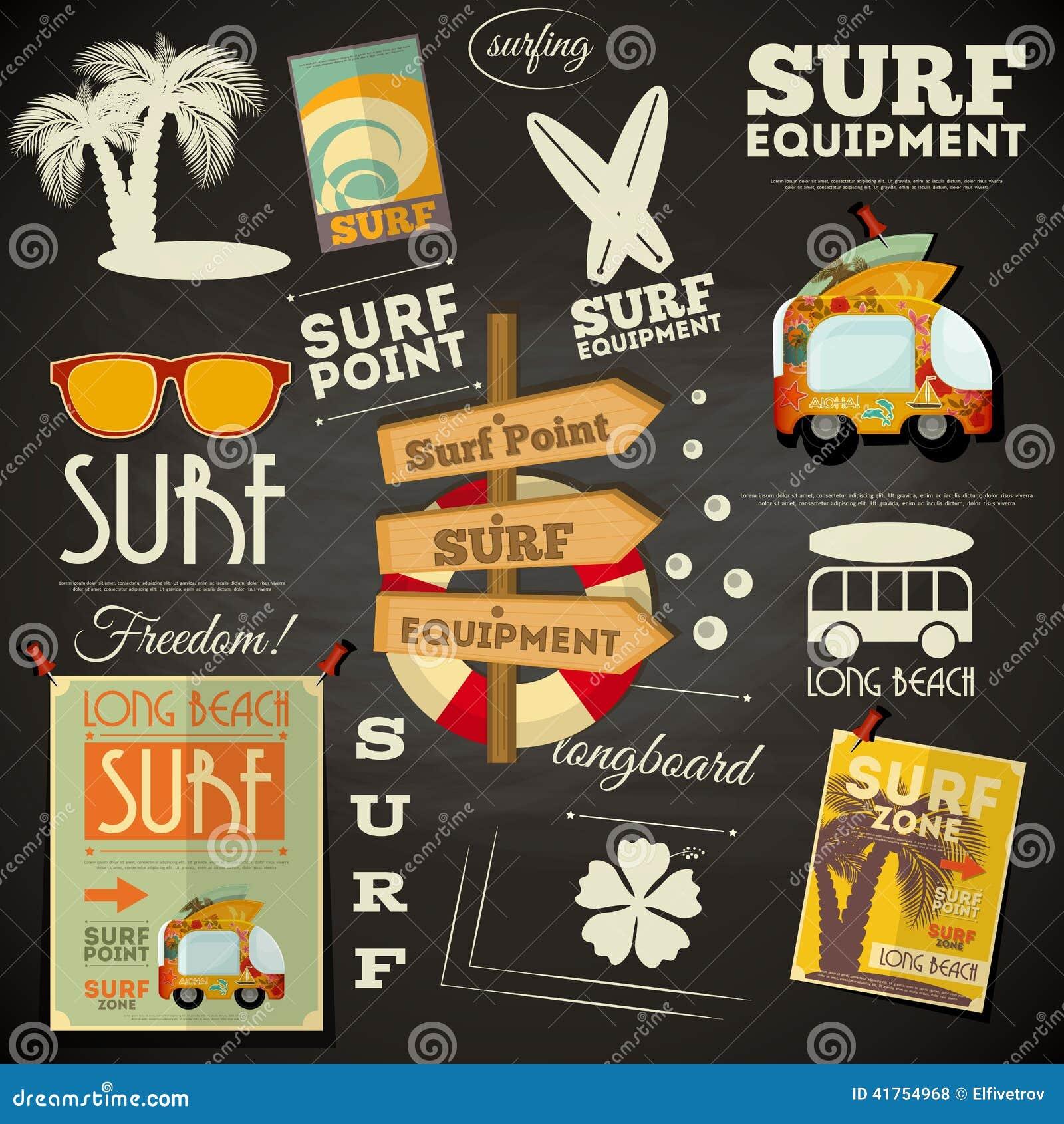 Surfing Poster Chalkboard Design Stock Vector