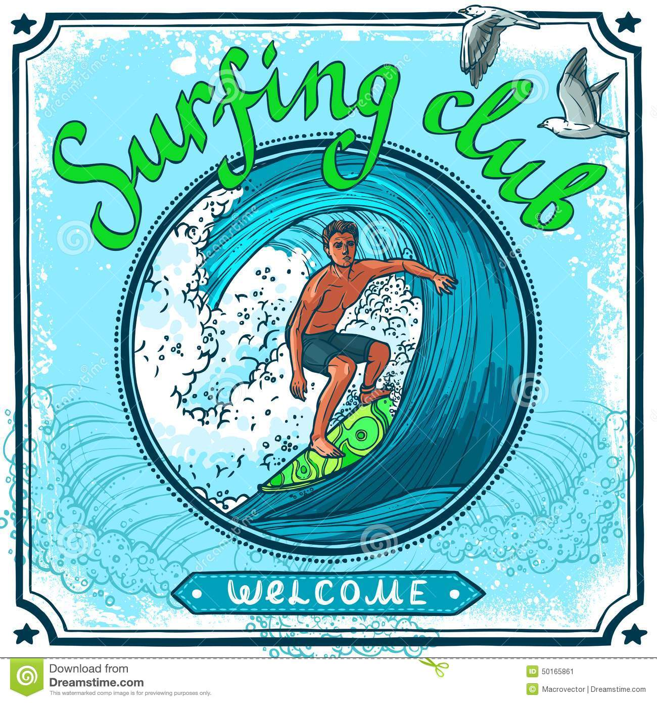 Surfing Poster Stock Vector