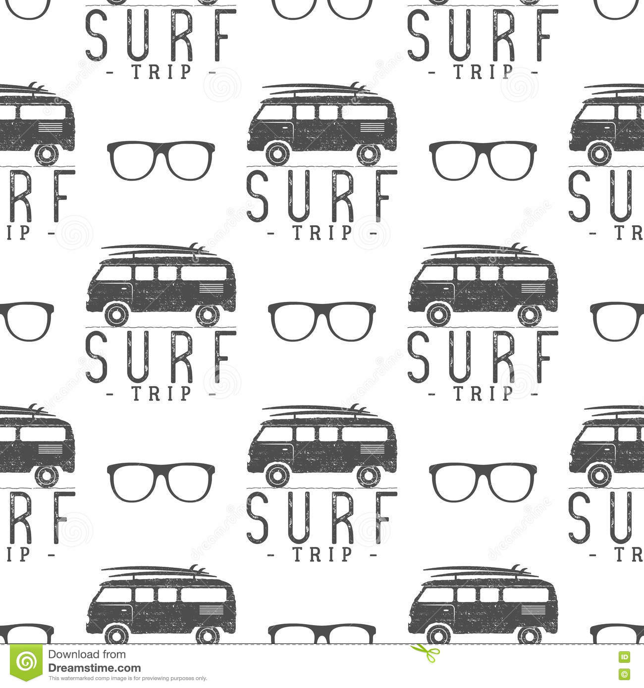 Surfing Seamless Pattern With Glass Surfer Van Glasses
