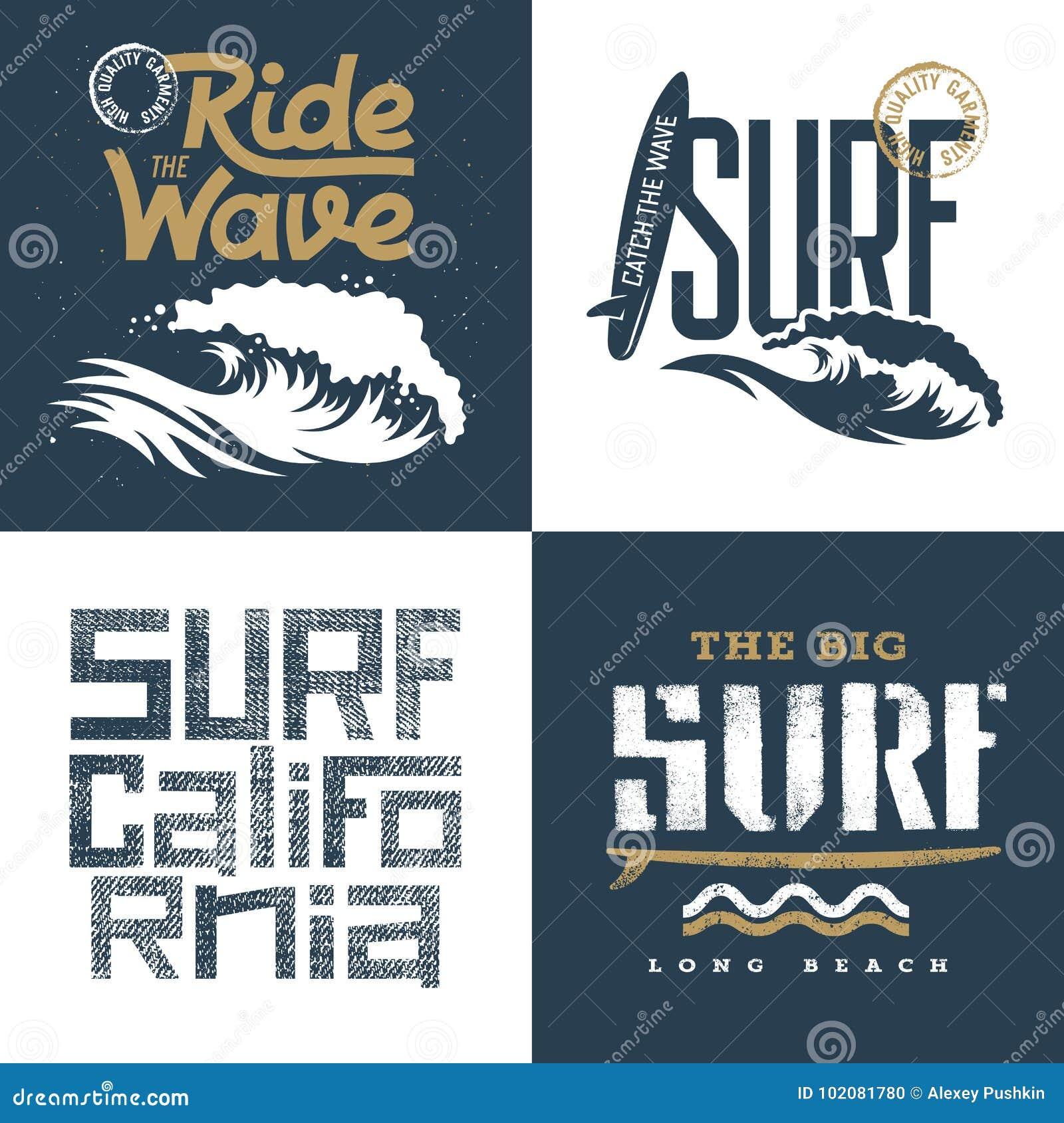 3da3cc14 Surfing artworks set / Surfrider print design / T-shirt apparel print  graphics / Original graphic Tee