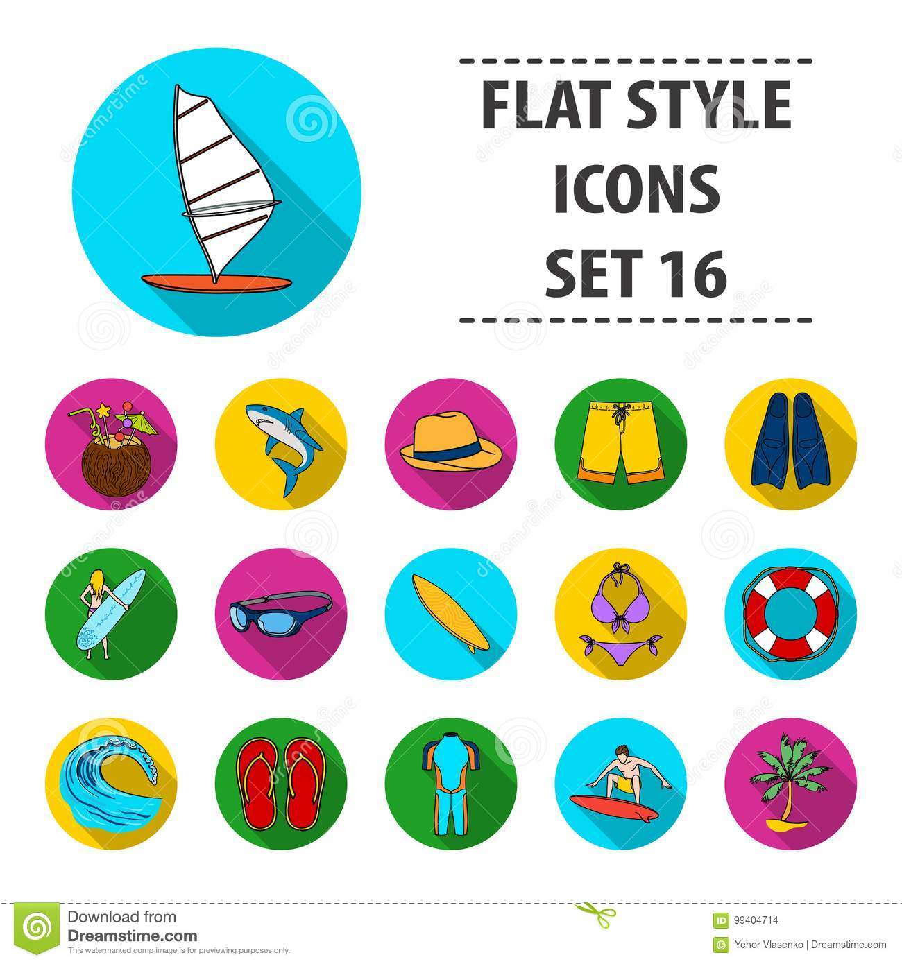 Surfing set icons in flat style. Big collection of surfing vector symbol stock illustration
