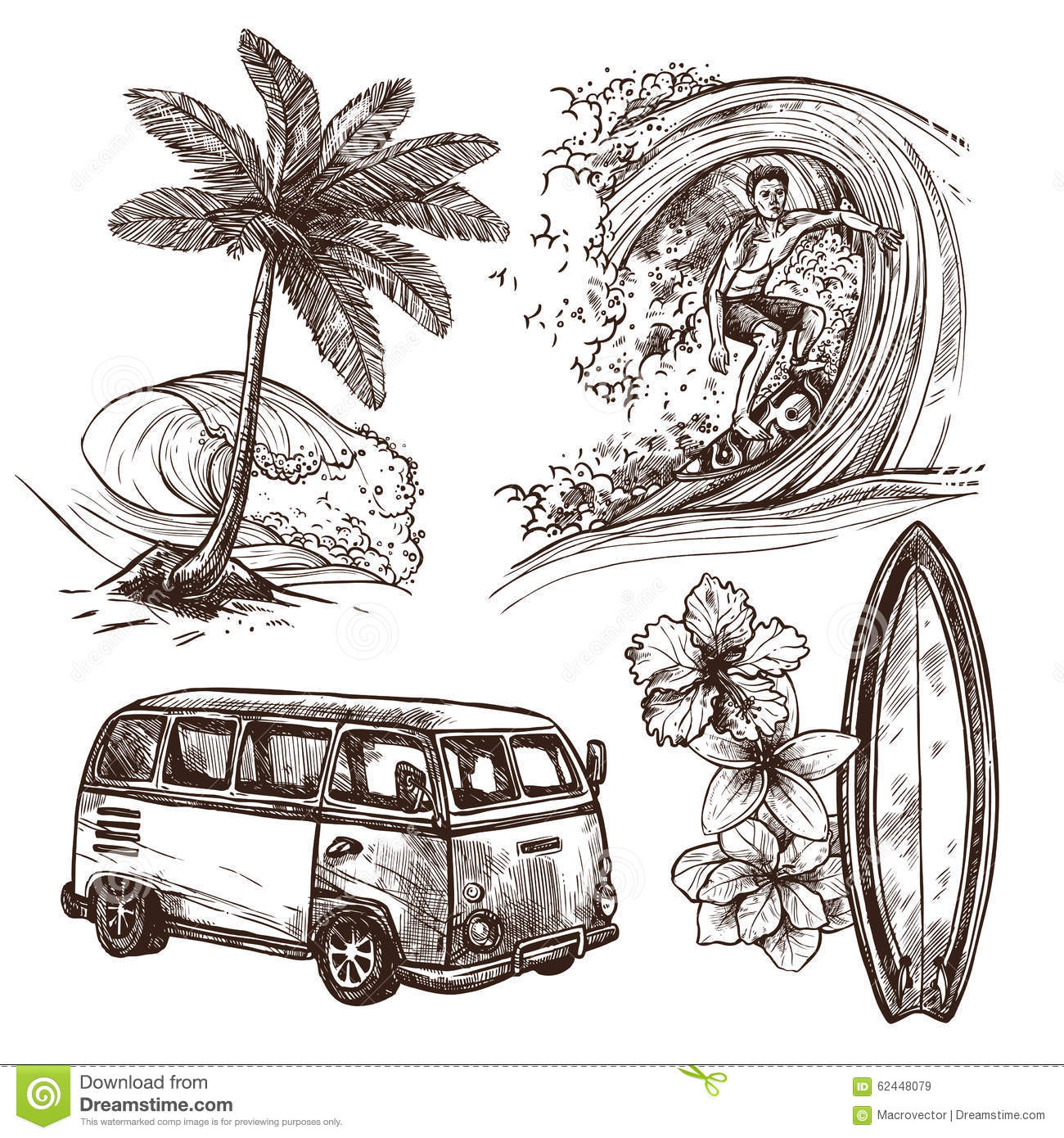 Surfing Sketch Icon Set Stock Vector Image Of Sport 62448079