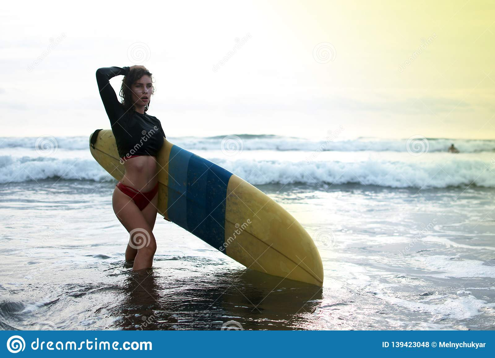 Surfing Surfer Woman Babe Beach Fun At Sunset Girl On The