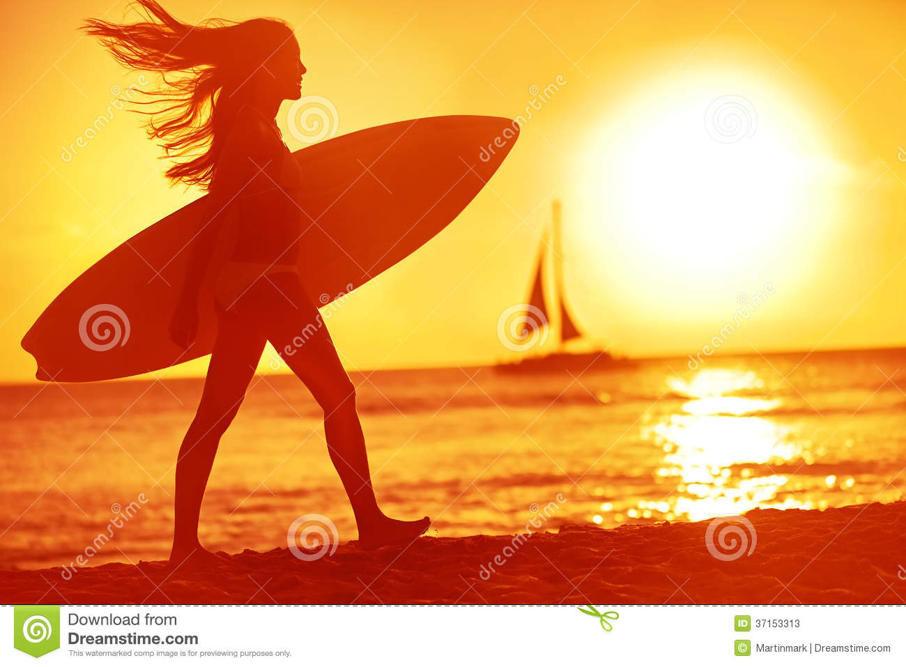 Surfing surfer woman babe beach fun at sunset