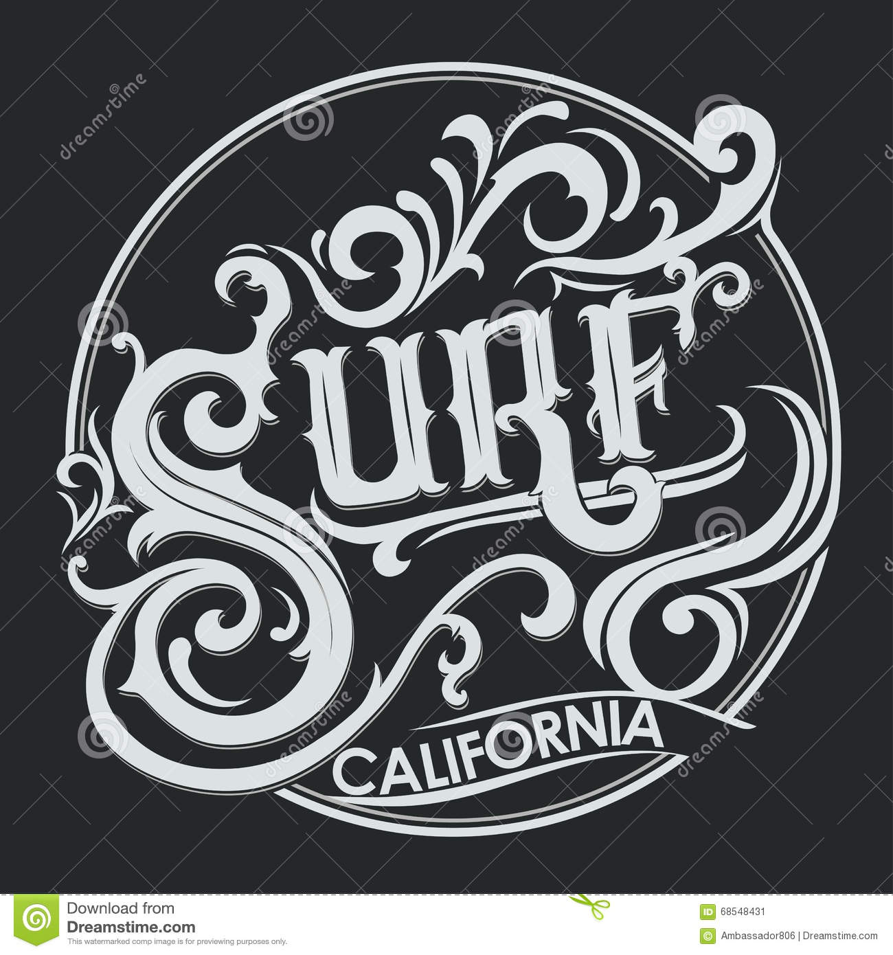 Surfing T-shirt Graphic Design Stock Vector - Illustration of long
