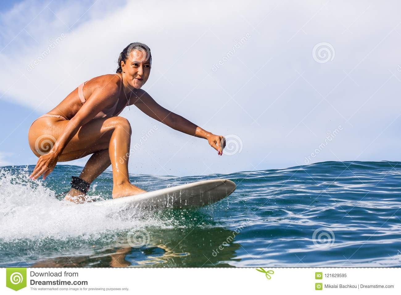 Surfing Time For Sporty Lady Stock Image Image Of Ocean