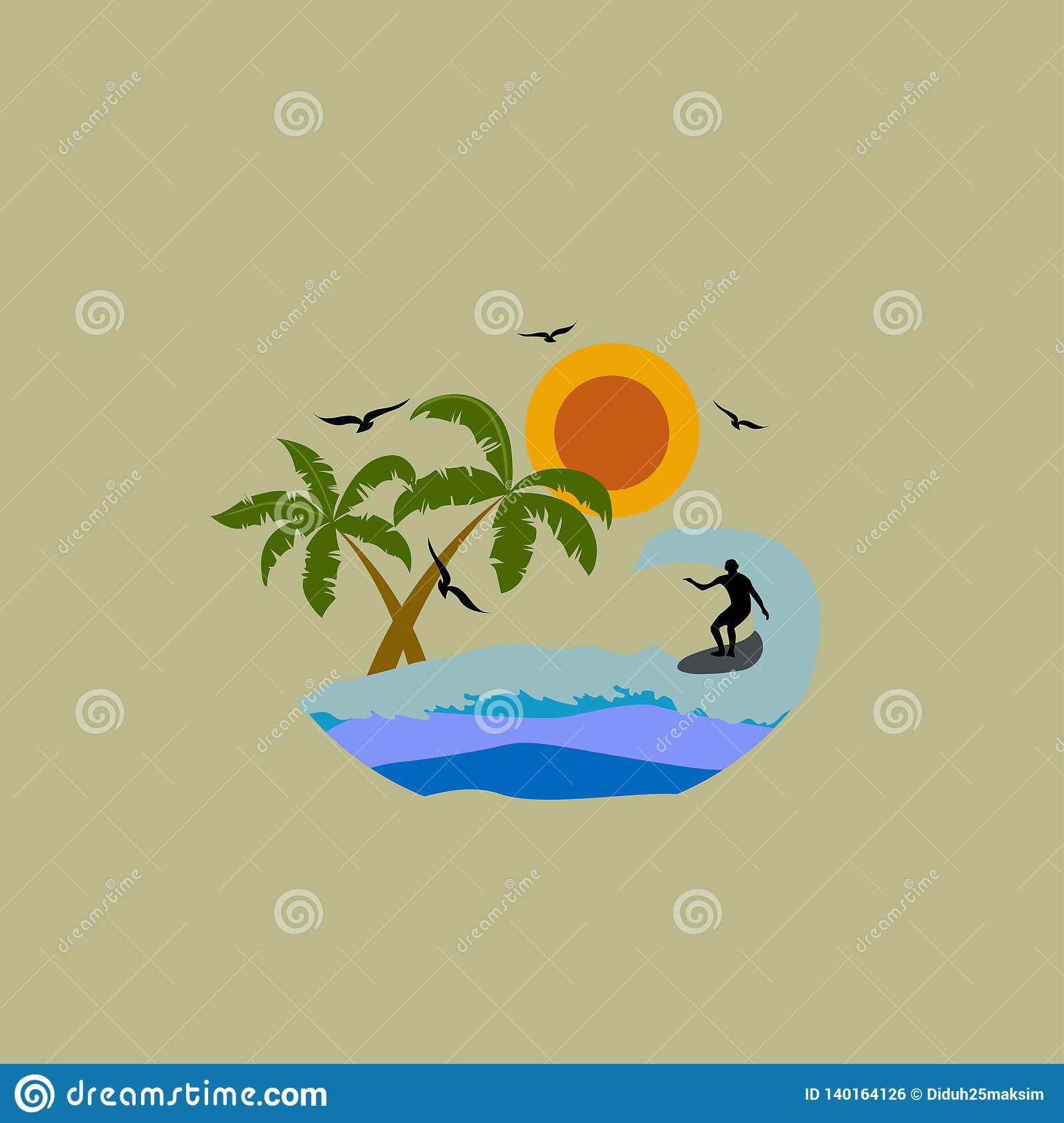 Surfing. Waves. Palm trees. Vector illustration. EPS 10